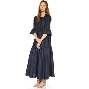 Cynthia Rowley Navy Pintuck Maxi Dress